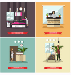 Set of hotel posters in flat style vector