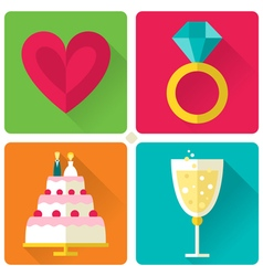 Set of 4 flat style love and wedding theme vector