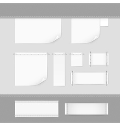 Label Tag Stitch Set White Isolated vector image
