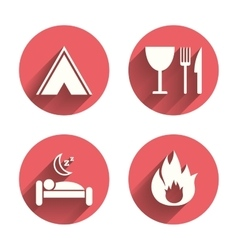Food sleep camping tent and fire signs vector