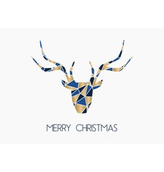 Triangles deer head merry christmas greeting card vector