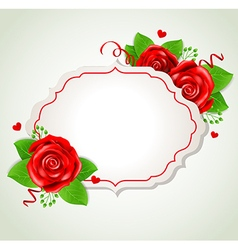 Decorative romantic banner with red roses vector image