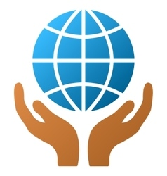 Global hands gradient icon vector