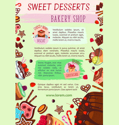 Bakery shop poster cake desserts template vector