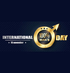 banner mens day 3d vector image vector image