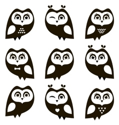 Black and white owls and owlets vector