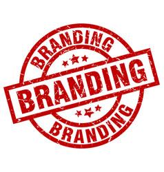 Branding round red grunge stamp vector