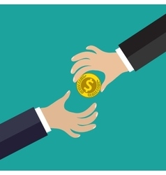 Buisness man hand give gold coin vector