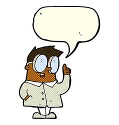 Cartoon scientist with speech bubble vector