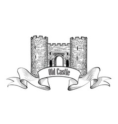 Castle logo retro label vector