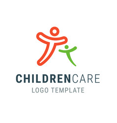 children care logo people logo template family vector image vector image