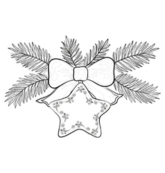 christmas star contours vector image vector image