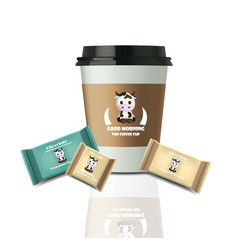 coffee cup and chocolates realistic set mock up vector image vector image