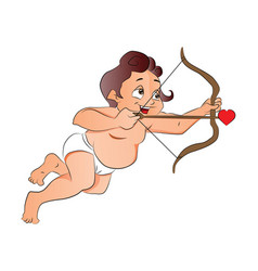 cupid shooting a love arrow vector image vector image