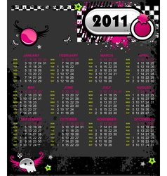 emo calendar for 2011 vector image vector image