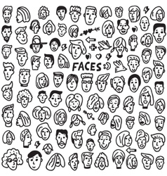 Faces - doodles set vector