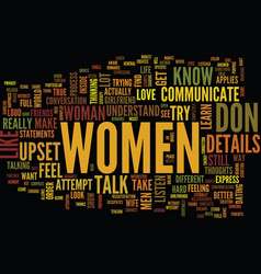 Learn how women communicate text background word vector