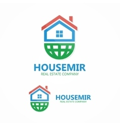 Logo combination of a home and earth vector