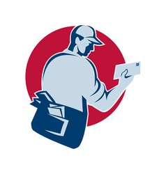 Mailman postman deliver mail envelope retro vector