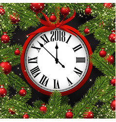 new year card with clock vector image vector image