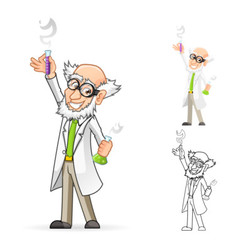 Scientist with one hand raised hand vector