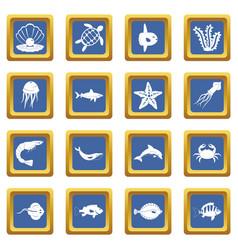 sea animals icons set blue vector image