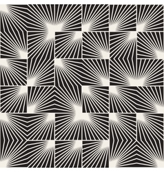 Seamless black and white square line rays vector