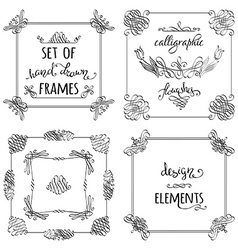 set of hand-drawn calligraphic frames vector image