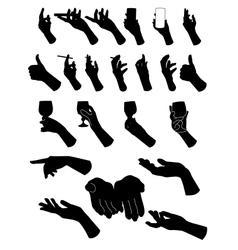Set of silouette hands Hand holding objects vector image vector image
