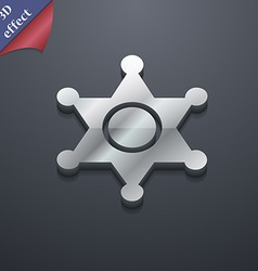 Sheriff star icon symbol 3d style trendy modern vector