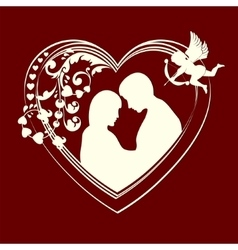 Silhouette hearts and couple in love vector image