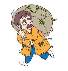 thief with bag of money vector image