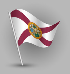 Waving triangle american state flag florida vector