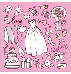 Wedding fashion bride dress doodle style vector