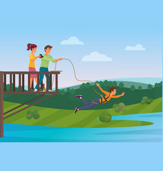 woman doing bungee jumping with the friends vector image