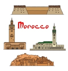 Morocco historic landmarks and sightseeings vector