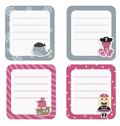 Set of cute creative cards with pirate and pirate vector