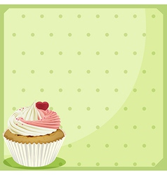 A cupcake in a green wallpaper vector