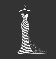 Wedding dress silhouette vector