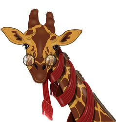 giraffe in a scarf vector image