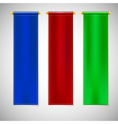 Vertical colored flags with emblems vector