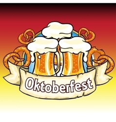 Oktoberfest label with beer and pretzels vector