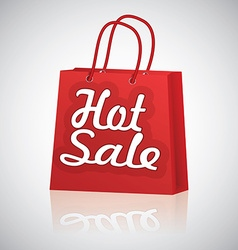 Realistic red shopping bag rope handles text hot vector