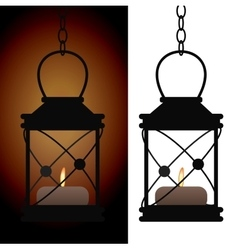 Old iron antique lantern lamp vector