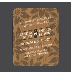 Wooden wedding invite vector