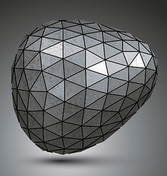 Deformed galvanized 3d abstract object grayscale vector