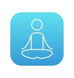 Man meditating in lotus pose line icon vector