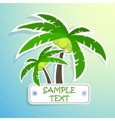 Realistic paper sticker palm isolated vector