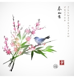 Sakura in blossom bamboo branch and blue bird vector
