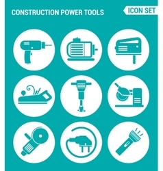 Set of round icons white construction power tools vector
